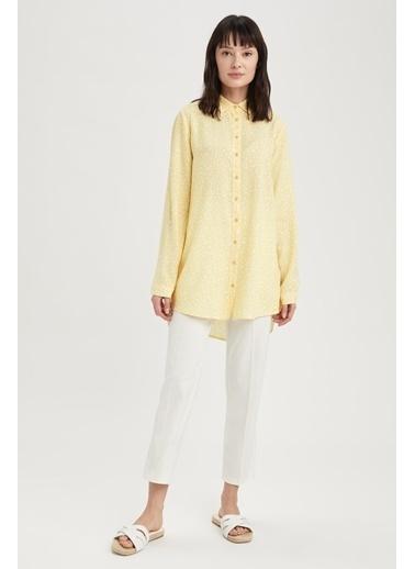 DeFacto Çiçek Desenli Relax Fit Gömlek Tunik Sarı
